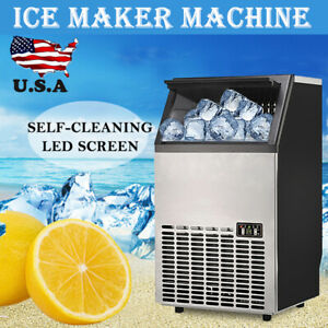 Commercial Ice Maker Stainless Steel Machine Restaurant Bar Icemaker 45 60kg