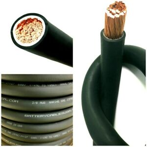 2 0 Awg 00 Gauge Battery Cable Black Pure Copper Power Wire Made In Usa