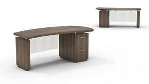 Mayline Sterling Bow Front Desk With Ff Pedestal In Textured Brown Sugar
