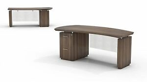 Mayline Bow Front Desk With Ff Pedestal On Left Side In Textured Brown Sugar
