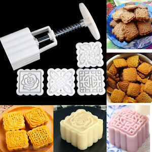 4Pcs  Stamps Square Hand-Pressure Moon Cake Mould With Mode Pat Pastry DI
