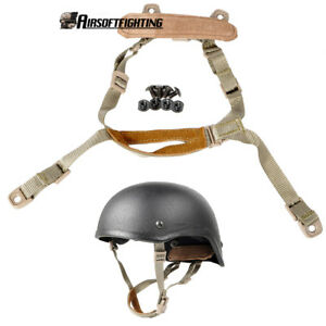 Tactical Airsoft Suspension System Military Chin Strap for MICH Helmet TAN