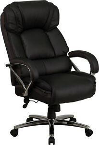 500 Lb Capacity Big Tall Black Leather Executive Swivel Office Chair