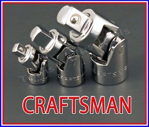 Craftsman Hand Tools 3pc 1 4 3 8 1 2 Universal Wobble Ratchet Flex Joint Set