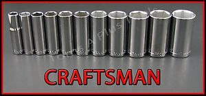 Craftsman Hand Tools 11pc Lot 3 8 Drive 6pt Deep Sae Ratchet Wrench Socket Set