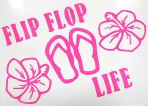 Flip Flop Life Hibiscus Flower Car Window Vinyl Decal Sticker Choose 12 Colors