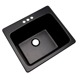 3 hole 25 In Drop In Single Bowl Kitchen Utility Sink Laundry Room Tub In Black