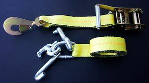 4 Rtj Cluster Hook Ratchet Straps Tie Down Car Trailer Flatbed Tow Truck Strap Y
