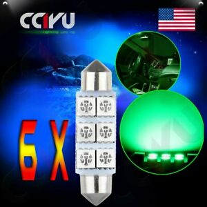 6x 42mm 6smd 5050 Cool Green Festoon Car Led Dome Light Bulb Interior Lights