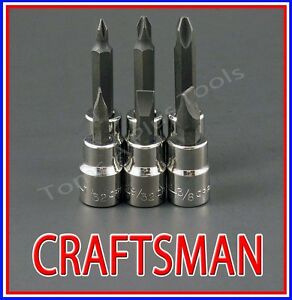 Craftsman Tools 6pc 3 8 Phillips Flat Blade Screwdriver Socket Wrench Bit Set