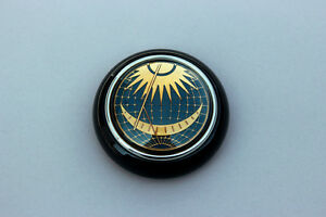 Vw Type 12 Bug Bus Petri Blue Sun Moon Steering Wheel Horn Button Black Base