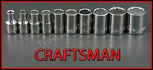 Craftsman Hand Tools 10pc Lot 1 4 Drive 12 Pt Sae Ratchet Wrench Socket Set