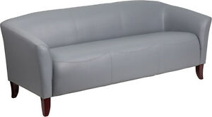 Lot Of 2 Hercules Imperial Series Gray Leather Sofa