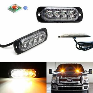 2pc Cree 4 Led Strobe Warning Light Flashers For Truck Trailer Pick Up Suv
