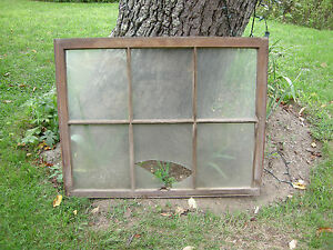 Vintage Farmhouse Old Wood Window Sash 6 Pane Picture Frame 31 1 2 X 40 Inches