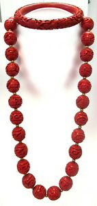 Chinese Cinnabar Necklace W Sterling Filigree Clasp And Matching Bracelet