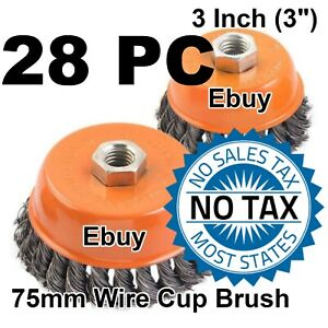 28pc 3 Twist Wire 28 Cup Brush 5 8 Knot Wire Fits Most Angle Grinders 28 Pc