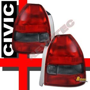 Red Smoke Tail Lights 1 Pair For 96 97 98 99 00 Honda Civic Dx Cx 3dr Hatchback