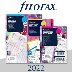 Filofax 2021 Illustrated Week On 2 Pages Diary Refill Choose Size Stripes floral