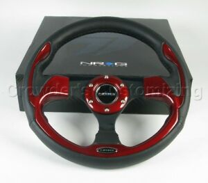 Nrg Steering Wheel 01 Black Leather Red Trim 320 Mm
