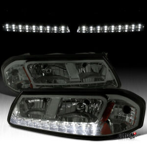 For 2000 2005 Chevy Impala Smoke Lens Tinted Led Headlights Head Lamp Left right