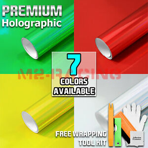 7 Colors Holographic Rainbow Neo Chrome Car Vinyl Wrap Bubble Free Sticker Film