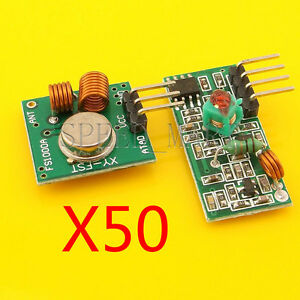 50 Pcs 315mhz Rf Transmitter And Receiver Kit Module For Arm mcu Remote Control