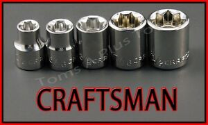 Craftsman Hand Tools 5pc Lot 3 8 Dr Sae 8 Point Ratchet Wrench Socket Set