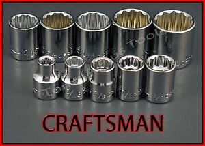 Craftsman Hand Toos 10pc Lot 3 8 Drive Sae 12 Pt Ratchet Wrench Socket Set