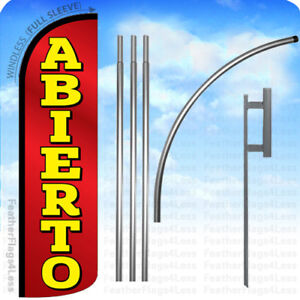 Abierto Windless Swooper Flag Kit Feather Banner Open Sign Rq
