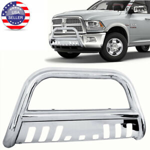 Fits 2002 2005 Dodge Ram 1500 3 Round Front Bumper Skid Plate Brush Bull Bar