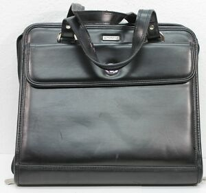 Classic Black Womens Franklin Covey Leather Planner Binder Briefcase Handles Guc