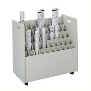 Filing Cabinet File Storage 50 Compartment Mobile Wood Roll Files In Putty