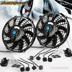 2 X 9 Inch Universal Slim Fan Push Pull Electric Radiator Cooling 12v Mount