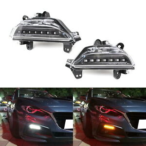 Smoked Revier Switchback Led Daytime Running Light turn Signal For 14 16 Mazda3