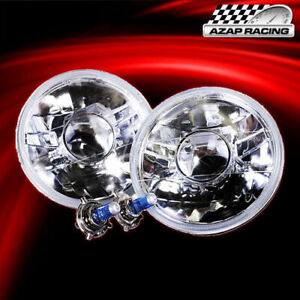Brand New Clear 7 H6024 Round Projector Headlights Head Lamps With Bulbs Pair