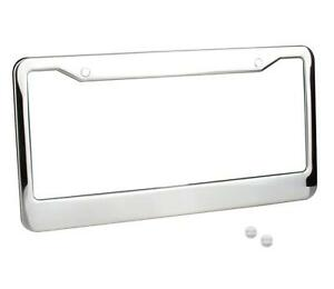 1 X License Plate Frame With Tag Cover Screw Caps Stainless Steel Chrome Metal