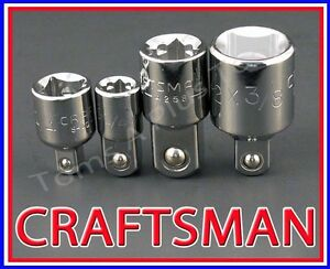 Craftsman Hand Tools 4pc 1 4 3 8 1 2 Ratchet Wrench Socket Drive Adapter Set
