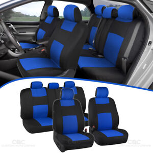 Car Seat Covers For Auto Blue Black 5 Head Rest Split Bench Air