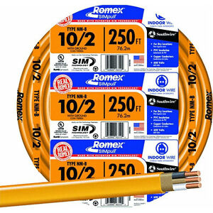 Romex 250 Ft 10 2 Nm b Indoor Residential Building Ground Wire Electrical Cable