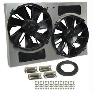 Derale 16826 High Output Dual 12 Electric Rad Fan aluminum Shroud Kit 4000 Cfm