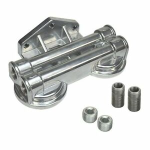 Derale 25707 Oil Filter Mount Only Dual Side Ports 1 2 Npt Aluminum Polished