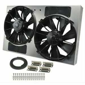 Derale 16836 High Output Dual 12 Electric Rad Fan aluminum Shroud Kit 4000 Cfm