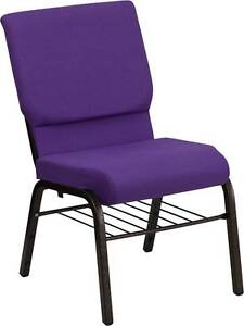 Lot Of 100 18 5 w Purple Fabric Church Chairs Book Rack Gold Vein Frame