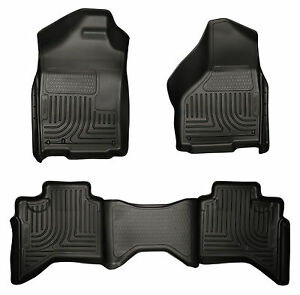 02 09 Dodge Ram 1500 2500 3500 Quad Cab Black Husky Weatherbeater Floor Mat Set