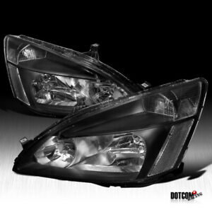 For 2003 2007 Honda Accord Lx Ex Jdm Black Headlights Lamps Pair Replacement