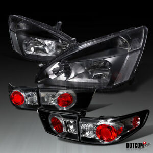 For 2003 2005 Honda Accord Assembly 4dr Black Headlights tail Lights Brake Lamps