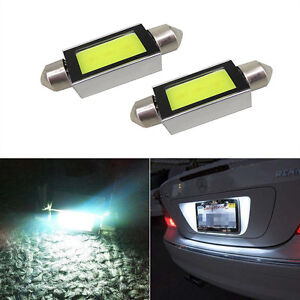 2 X Super White Xenon 36mm Car Cob Led License Plate Light 6418 C5w 4w Bulbs 12v
