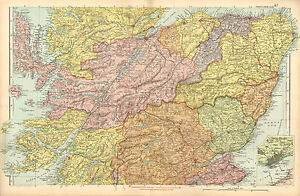 1902 Large Victorian County Map Central Scotland Dundee Inverness Forfar