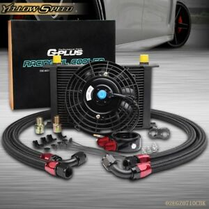 Us 25 Row An10 Engine Oil Cooler Filter Adapter Hose Kit 7 Electric Fan
